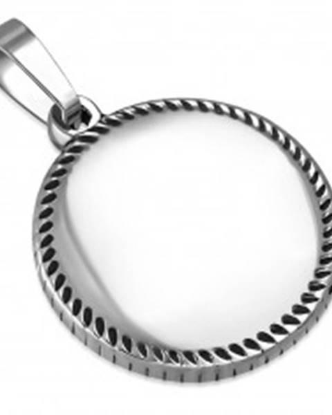 Prívesok striebornej farby z ocele - krúžok s drobnými slzičkami po obvode S08.18