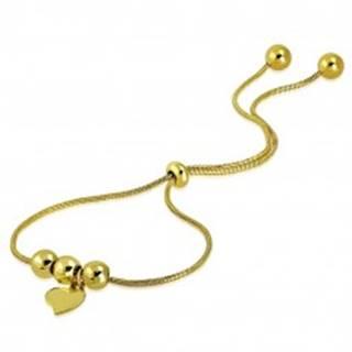 Oceľový náramok zlatej farby - nepravidelné srdiečko, guličky, vzor hadej kože SP36.17