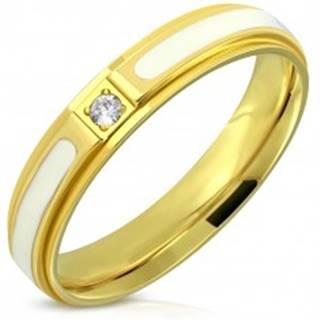 Oceľový prsteň - lesklý povrch zlatej farby, biela glazúra a zirkón, 4 mm - Veľkosť: 47 mm