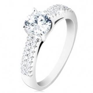 Strieborný prsteň 925 - zásnubný, číry okrúhly zirkón, zdobené ramená - Veľkosť: 48 mm