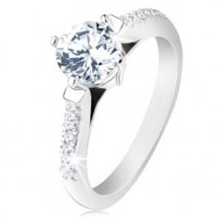 Zásnubný prsteň, striebro 925, zdobené ramená, okrúhly priehľadný zirkón S61.29 - Veľkosť: 48 mm