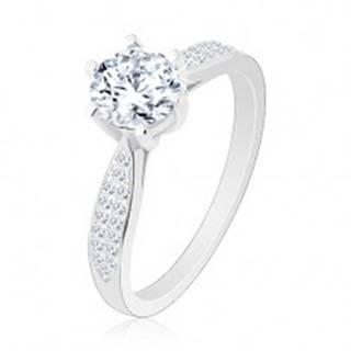 Zásnubný prsteň zo striebra 925, ligotavý okrúhly zirkón, zdobené ramená R26.29 - Veľkosť: 50 mm