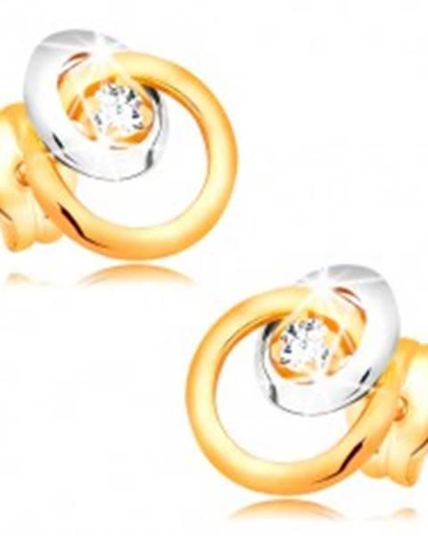 Náušnice zo zlata 585 - trblietavý číry briliant, veľká a malá obruč