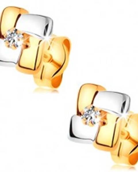 Zlaté náušnice 585 - štvorec z dvojfarebných pásov, okrúhly číry zirkónik v strede
