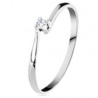 Prsteň z bieleho 14K zlata - trblietavý číry diamant v lesklom kotlíku - Veľkosť: 49 mm