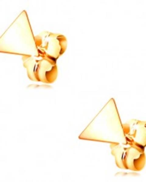 Náušnice v žltom zlate 585 - lesklý plochý trojuholník, puzetové zapínanie