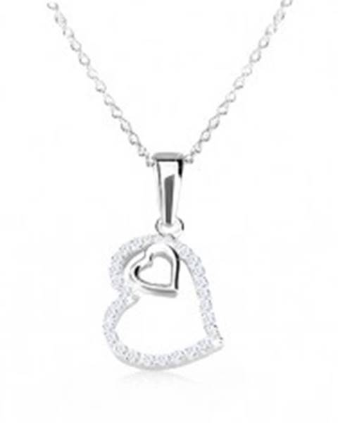 Strieborný 925 náhrdelník - obrys nepravidelného srdca so zirkónmi, srdiečko