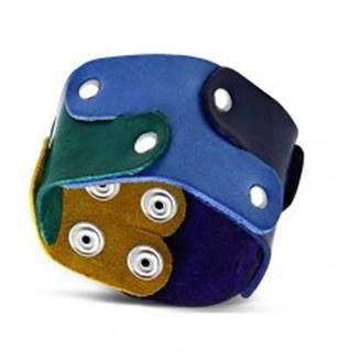 Náramok z pravej kože - puzzle dieliky spájané nitmi, dúhové farby, PRIDE SP91.10