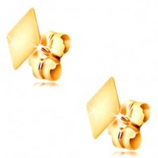 Zlaté 14K náušnice s puzetkami - plochý hladký kosoštvorček, vysoký lesk