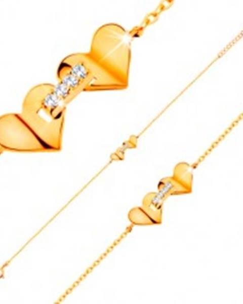 Náramok zo žltého 14K zlata - srdiečka spojené pásom zirkónov, tenká retiazka