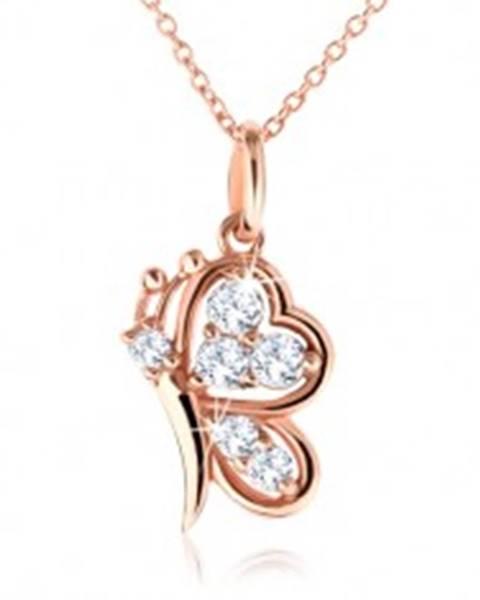 Strieborný náhrdelník 925, motýlik medenej farby s čírymi zirkónmi SP38.11