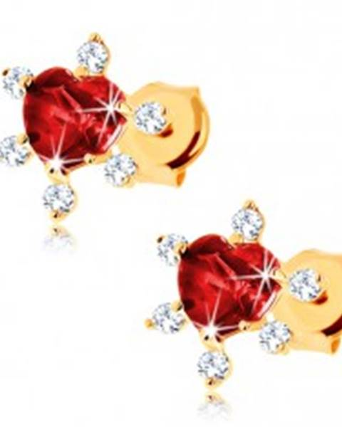 Zlaté náušnice 585 - srdiečkový granát červenej farby, číre zirkóniky