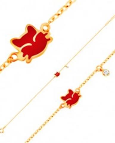 Náramok zo žltého 14K zlata, prívesky - červená mačička, číry zirkón