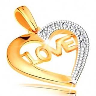 Prívesok v 14K zlate - kontúra srdca s nápisom v strede a zirkónikmi GG194.64