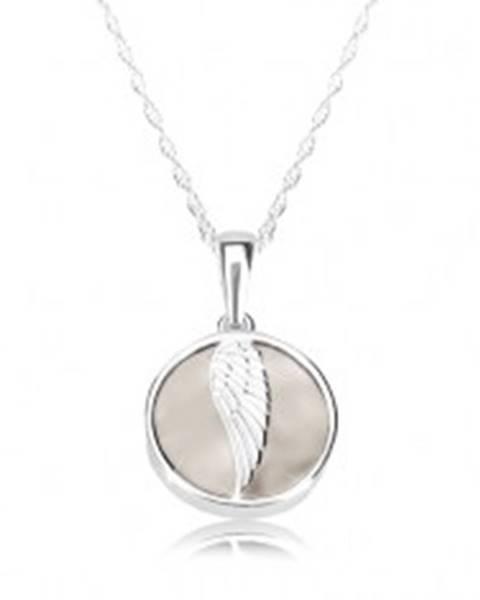 Strieborný náhrdelník 925 - anjelské krídlo, lesklý kruh, mramorová glazúra krémovej farby V11.23