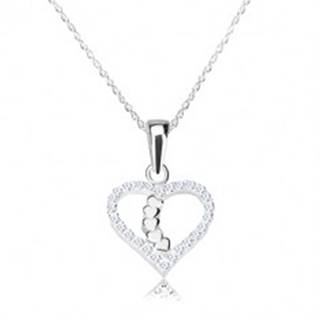 Strieborný náhrdelník 925 - obrys srdca s ligotavými zirkónmi, srdiečková línia V10.22