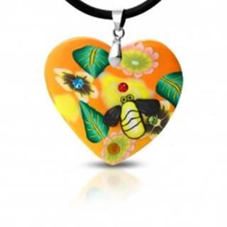 Fimo náhrdelník - oranžové srdce s kvetmi a včelička S17.24
