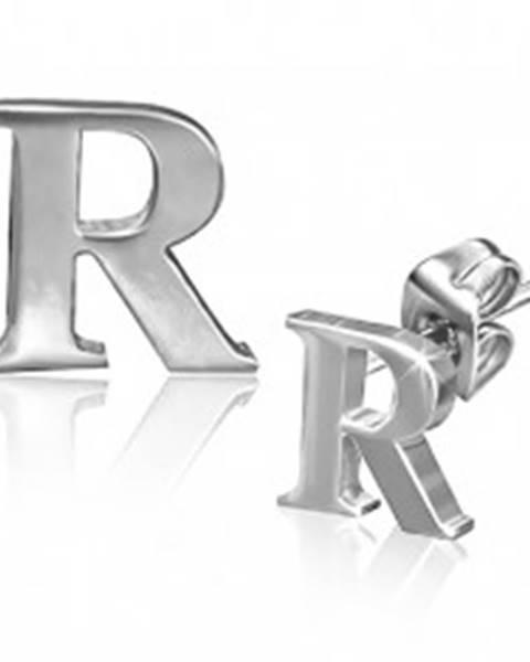 Náušnice z ocele - tlačené lesklé písmeno R