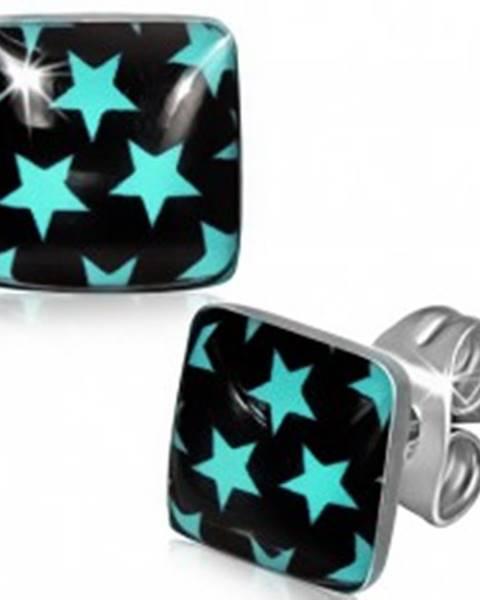 Oceľové náušnice - modré hviezdy na čiernom štvorci