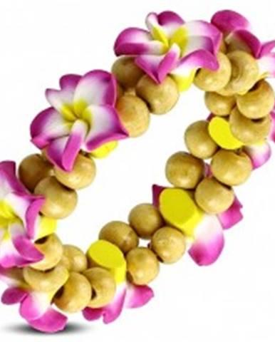 Fimo náramok na gumičke - ružový kvet s guličkami