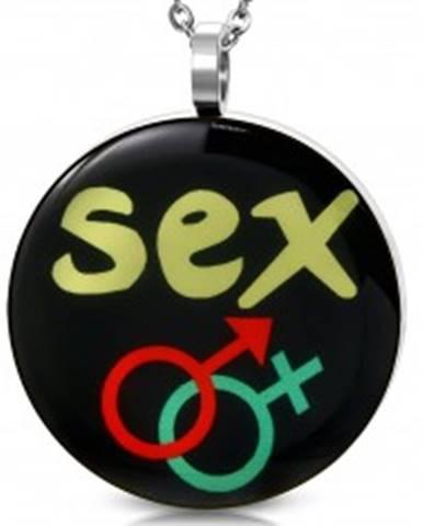 Prívesok z ocele - symbol ONA a ON, nápis SEX AA30.30