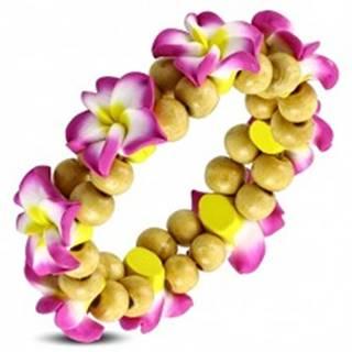 Fimo náramok na gumičke - ružový kvet s guličkami V16.9
