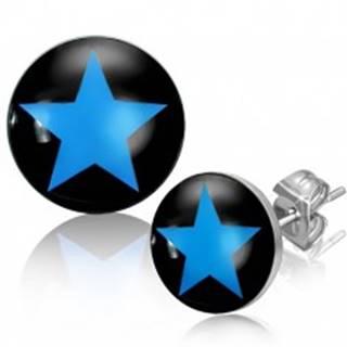 Oceľové náušnice s modrou hviezdou v čiernom kruhu