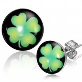 Puzetové náušnice z ocele - kruhy so zeleným štvorlístkom