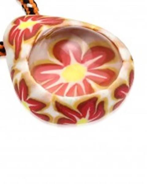 Náhrdelník s trojfarebnou šnúrkou - FIMO slza, kvietky, transparentná guľôčka