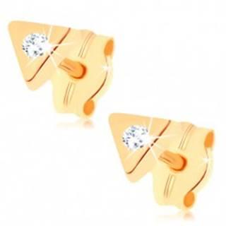 Puzetové náušnice v žltom 9K zlate - malý trojuholník, ligotavý číry zirkónik