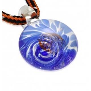 Šnúrkový náhrdelník - farbené sklo so špirálou modrej farby, oranžové vlnky Z25.15