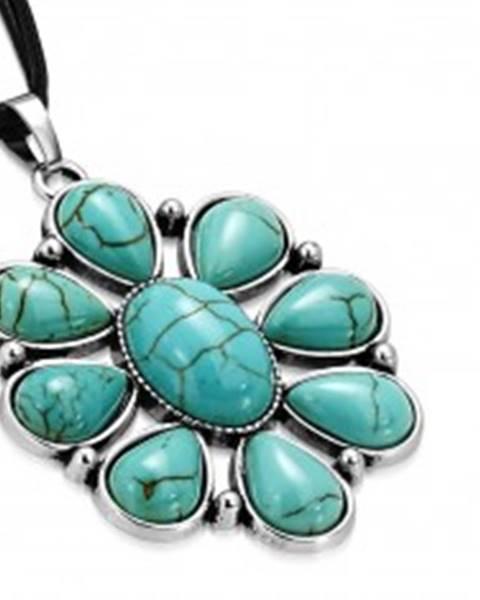 Čierny šnúrkový náhrdelník - ozdobný kvet s tyrkysovými kameňmi, slzy SP95.08