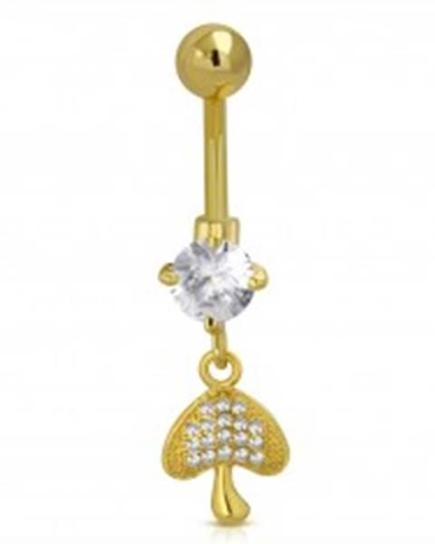 Oceľový piercing do bruška zlatej farby - hubka, trblietavé číre zirkóny