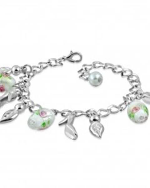 Retiazkový náramok s príveskami - lístky, lodičky, korálky s motívom ruže
