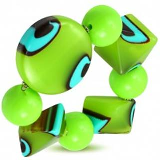 Rozťahovací náramok - zelené guľôčky, korálky z mliečneho skla, tyrkysovo-hnedé očká