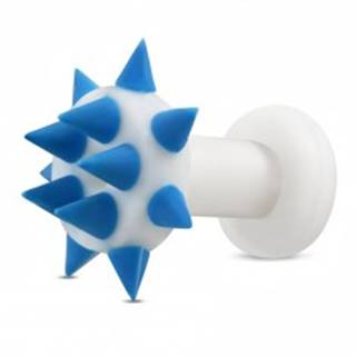 Silikónový tunel do ucha - modré hroty na krúžku a po obvode