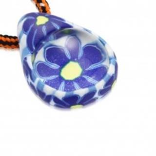 Šnúrkový náhrdelník - FIMO slza s modrými kvietkami, sklenená guľôčka S29.31