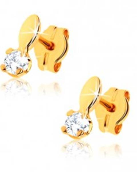 Lesklé náušnice zo žltého 9K zlata - ovál a číry kamienok