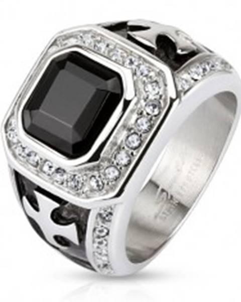 Mohutný prsteň z chirurgickej ocele, čierny zirkónový štvorec, číre línie, kríže - Veľkosť: 59 mm