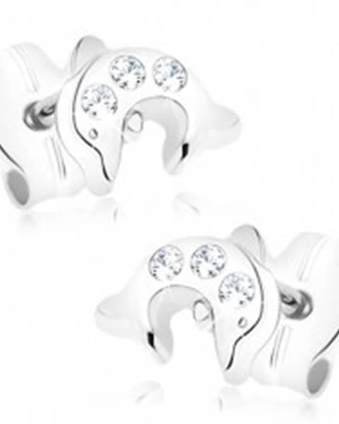 Zlaté náušnice 375 - malý skáčuci delfín, tri okrúhle číre zirkóniky