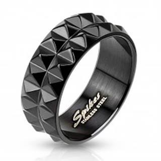 Prsteň z čiernej chirurgickej ocele s brúseným povrchom, 8 mm - Veľkosť: 59 mm
