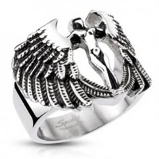 Mohutný oceľový prsteň - postava anjela s krídlami, patinovaný - Veľkosť: 59 mm
