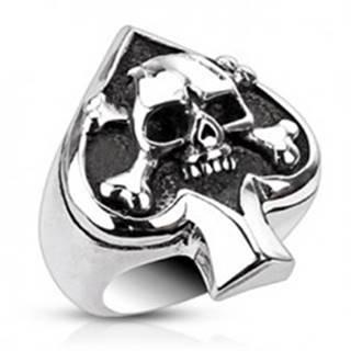 Prsteň z ocele s kartovým symbolom a lebkou K14.13/14/K15.14 - Veľkosť: 51 mm