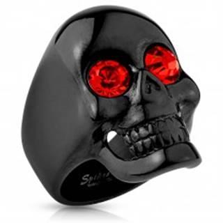 Masívny oceľový prsteň čiernej farby, lebka, červené zirkóny, vysoký lesk - Veľkosť: 59 mm