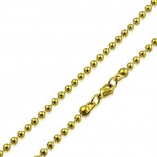Retiazka zlatej farby z chirurgickej ocele - lesklé guľôčky oddelené paličkami, 2,5 mm