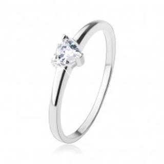 Zásnubný prsteň, vybrúsené zirkónové srdiečko v čírej farbe, striebro 925 - Veľkosť: 48 mm