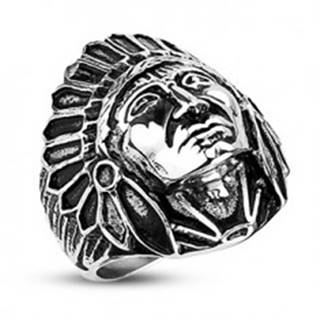 Oceľový prsteň- indián Apač, čierna patina - Veľkosť: 59 mm