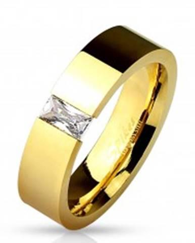 Lesklá oceľová obrúčka zlatej farby, vsadený obdĺžnikový číry zirkón, 6 mm M01.09 - Veľkosť: 49 mm