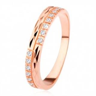Obrúčka zo striebra 925, medená farba, diamantový rez, číre zirkóny - Veľkosť: 49 mm