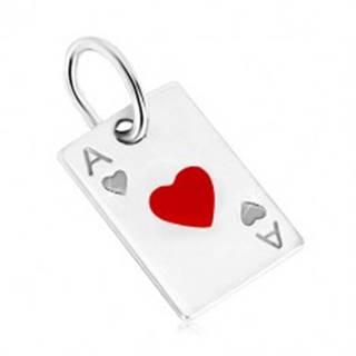Prívesok zo striebra 925 - motív hracej karty, srdcové eso a červená glazúra AC05.21